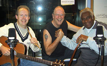 Bob Howe, John Nutting and Jimmy Little at the ABC Studio. Photo by Buzz Bidstrup.