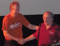 Bob receives his award from Bob Kirchner