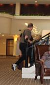 through the lobby