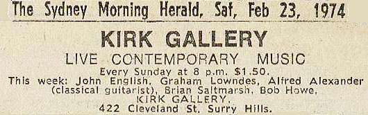newspaper ad for Kirk Gallery show