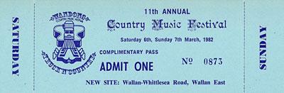 1982 Wandong Festival ticket