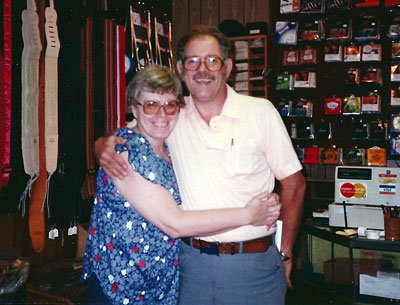 Mary and Scotty in their store, Scotty's Music