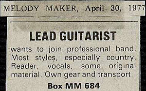 my Melody Maker advert