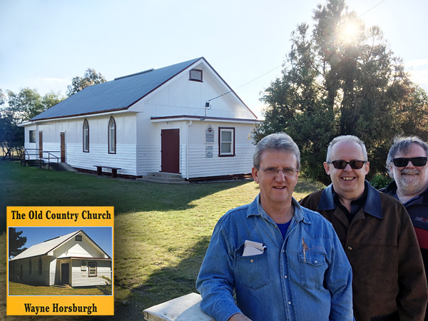 Wayne, Bob and Greg in front of the Lima church
