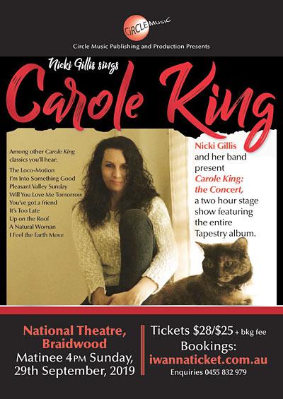 Nicki Gillis sings Carole King at Braidwood 2019